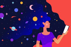 Drawing of a woman holding her smartphone with multiple colors and drawings of planetary objects coming out of it.