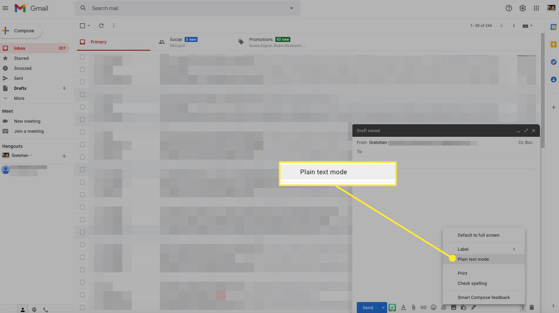 Gmail compose window with Plain Text Mode highlighted