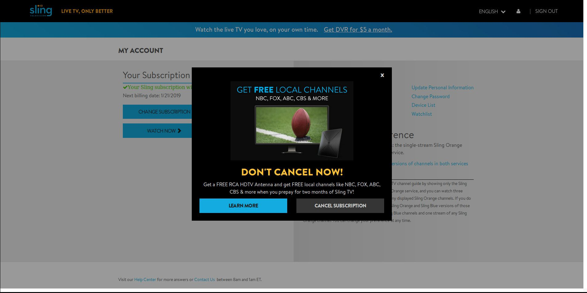 How To Change Or Cancel A Sling TV Subscription
