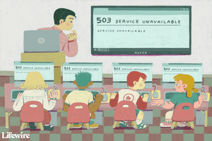 Illustration of a teacher getting a 503 Error in front of a classroom