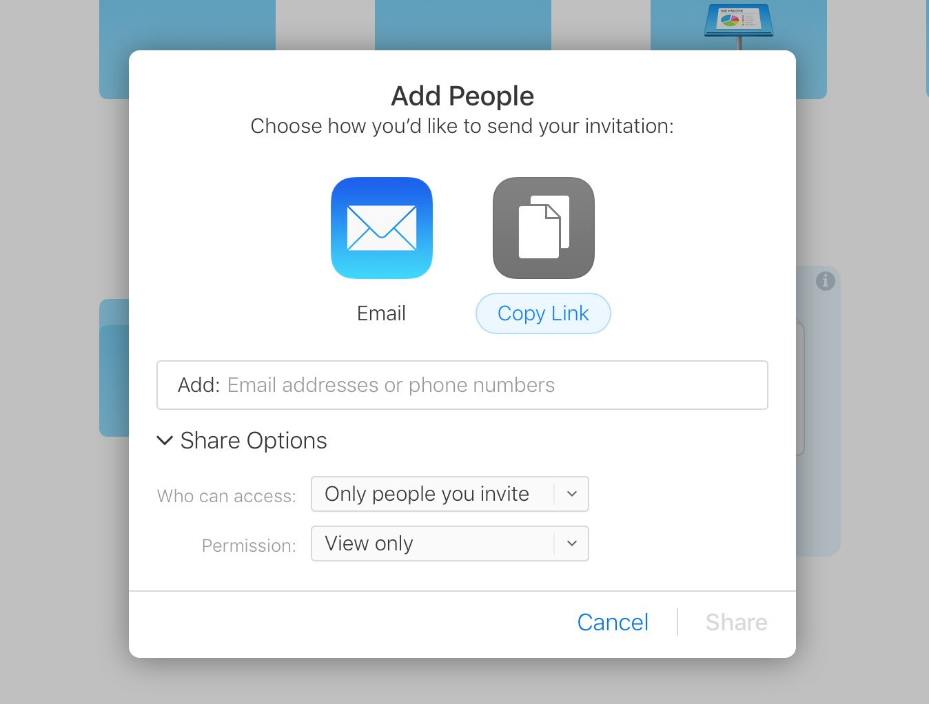 Screenshot of the sharing options for iCloud Videos