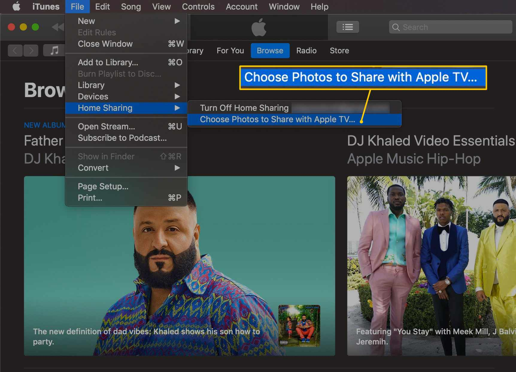 Choose Photos to Share with Apple TV menu item in iTunes