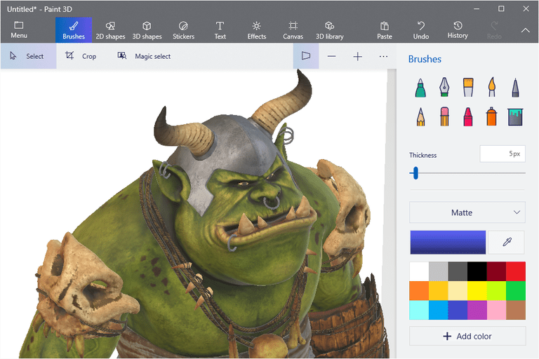 Screenshot of Microsoft Paint 3D in Windows 10