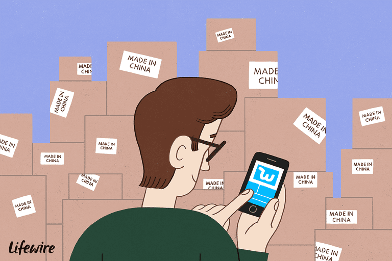 Illustration of a person using the Wish app on their smartphone in front of a ton of stacked boxes with the label