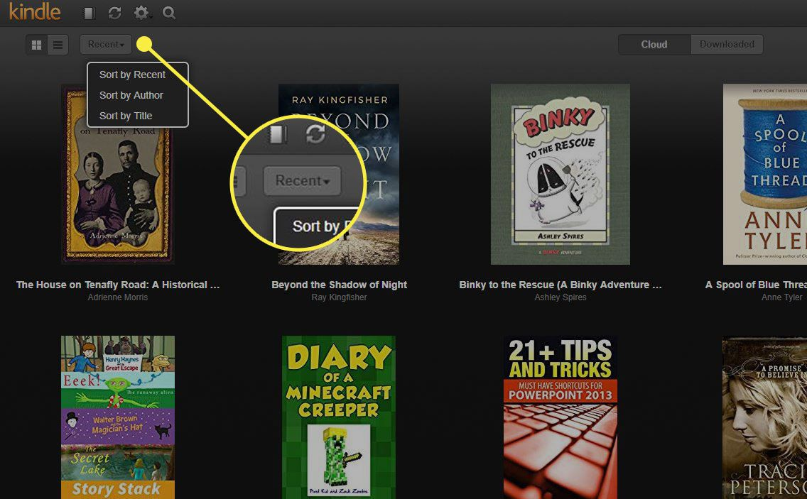 The Recent button in Kindle Cloud Reader