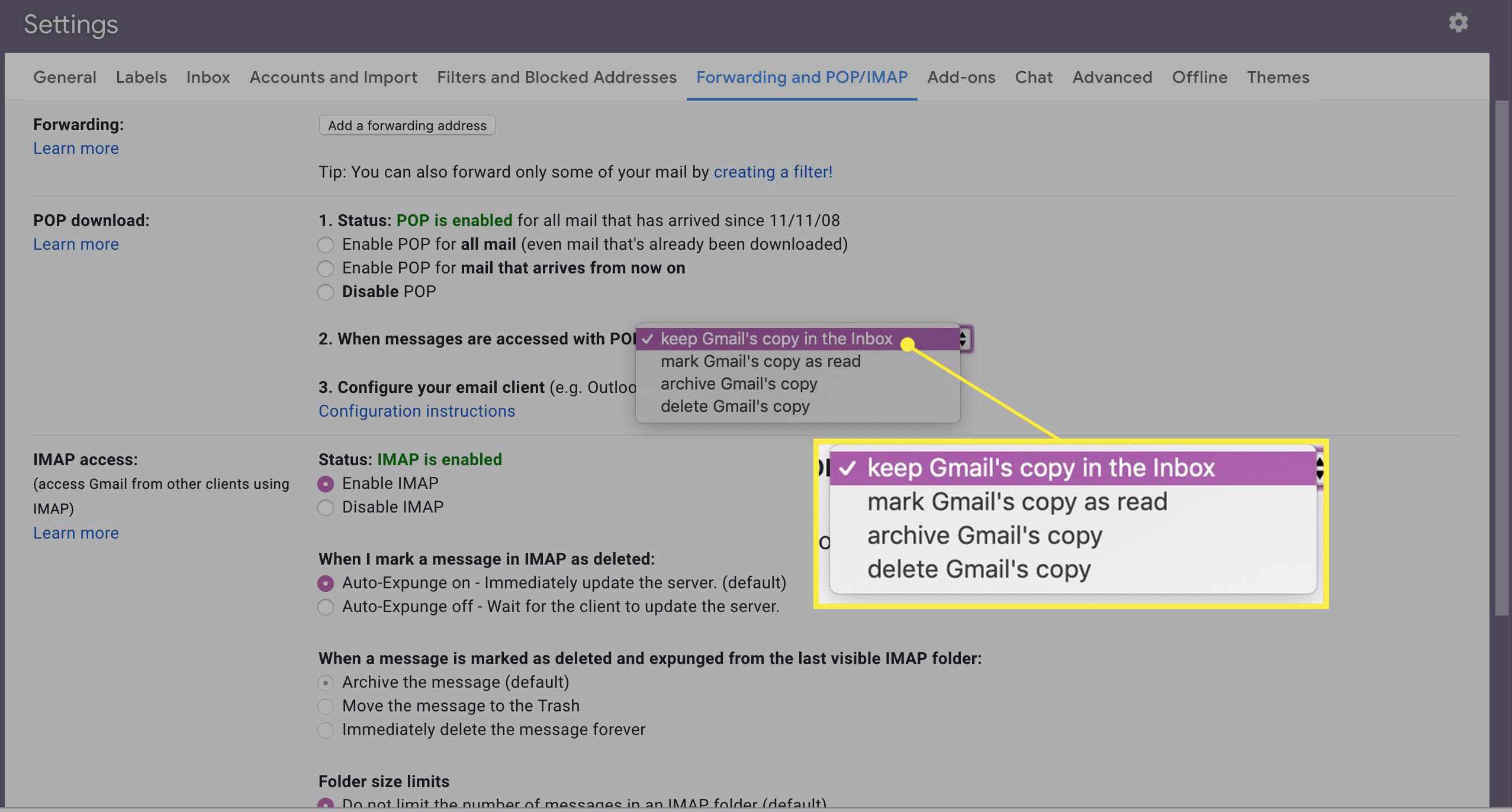 Gmail copy settings.