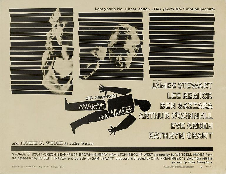 Anatomy Of A Murder. Designed by Saul Bass