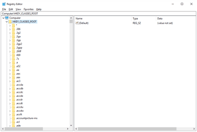 Screenshot of the HKEY_CLASSES_ROOT registry hive in Windows 10