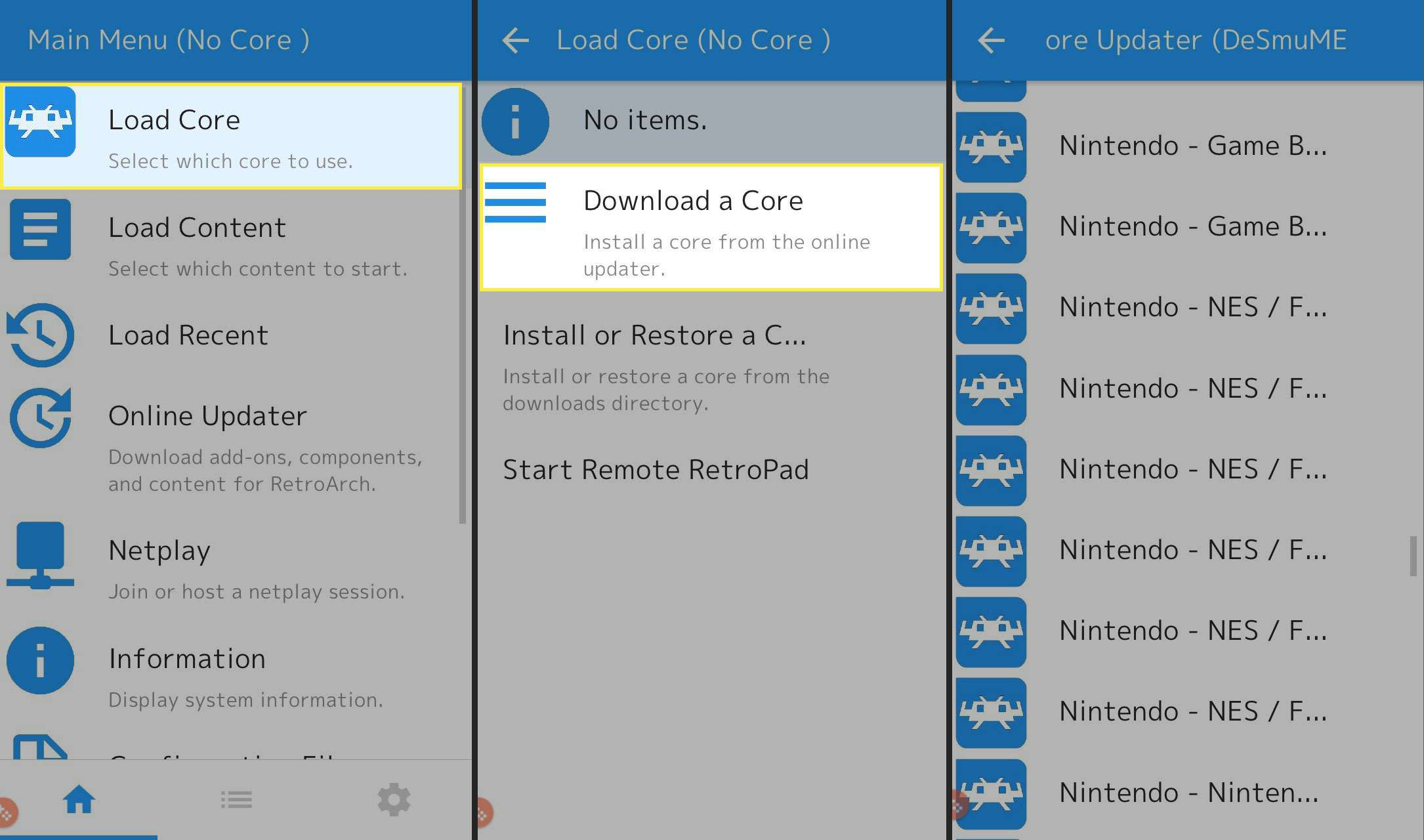 Downloading a core in the RetroArch app