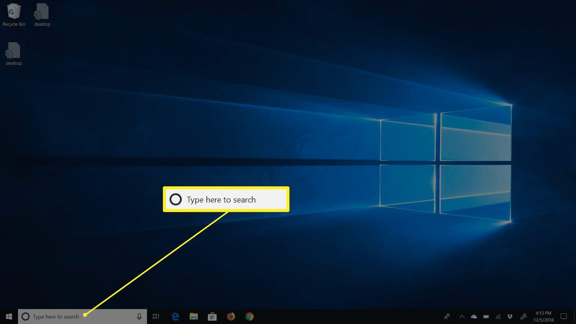 The search box on Windows 10 desktop