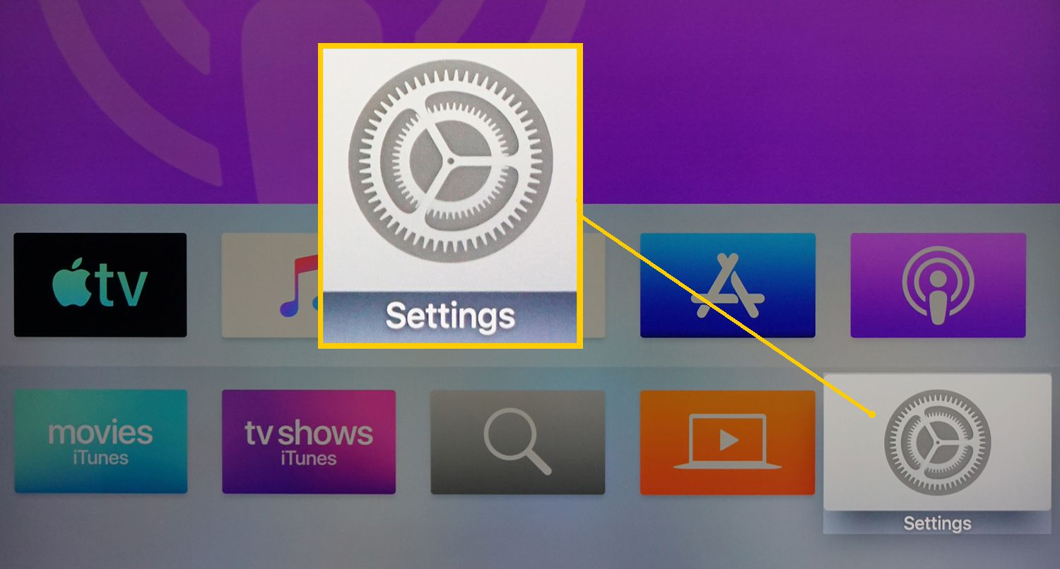 Apple TV Home Page – Settings Selected