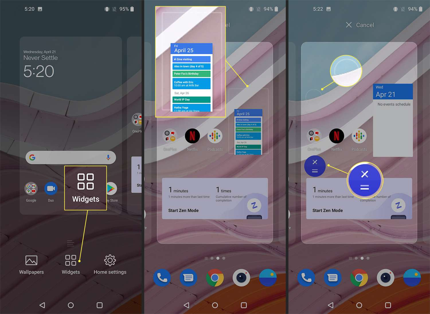 Options for customizing widgets and app icons on the OnePlus 9