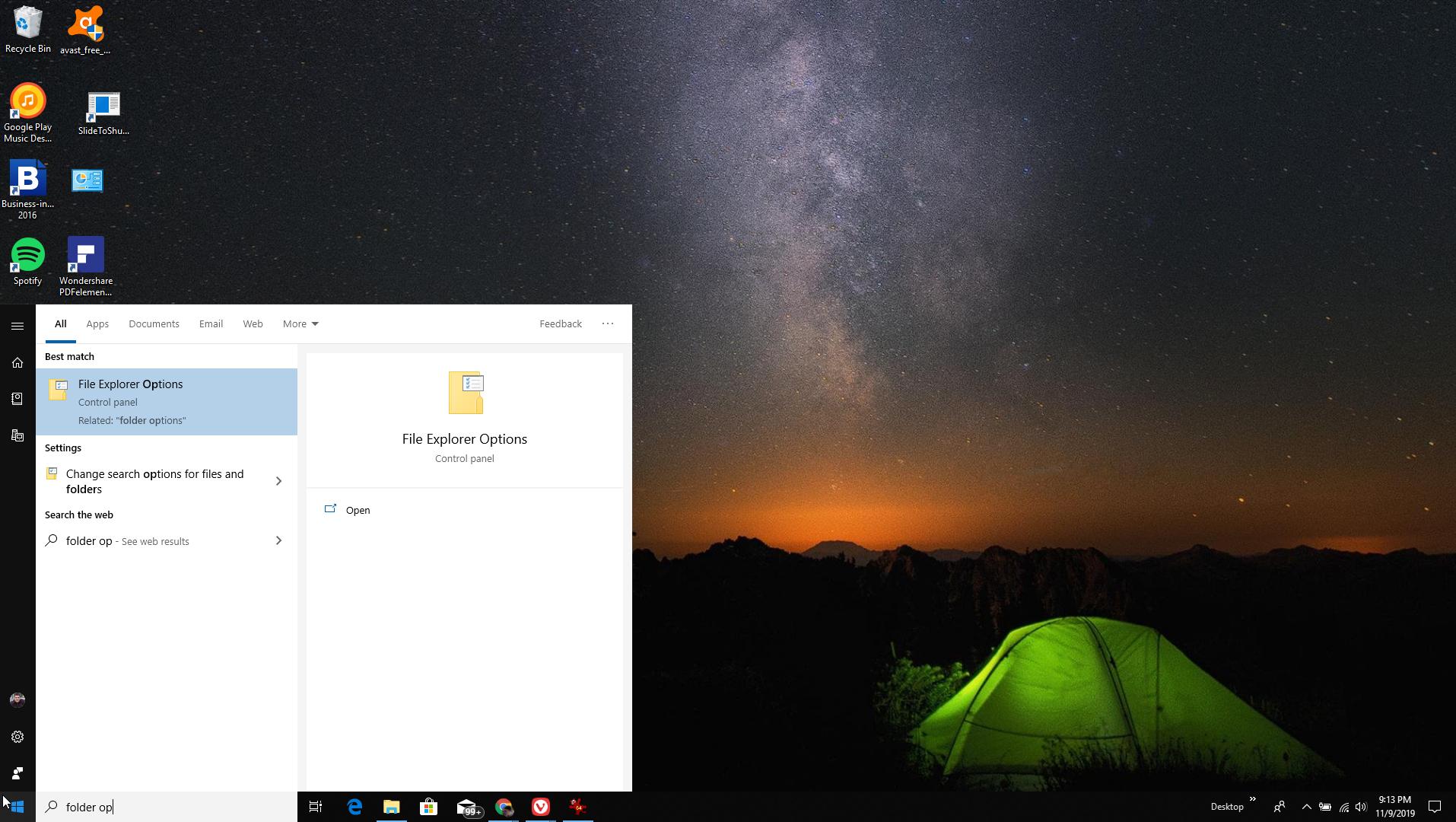 Screenshot of selecting File Explorer Options