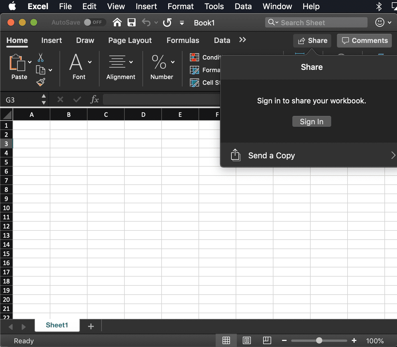 screenshot of the Excel Share dialog