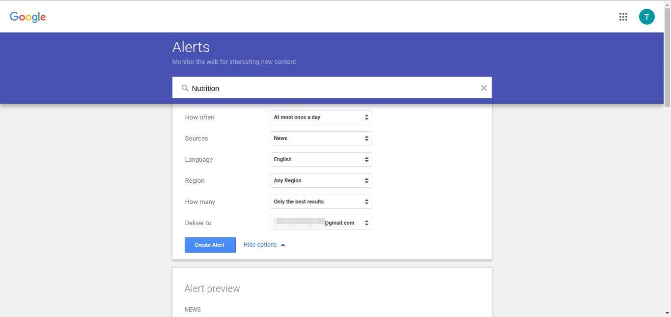 Google create alert screenshot