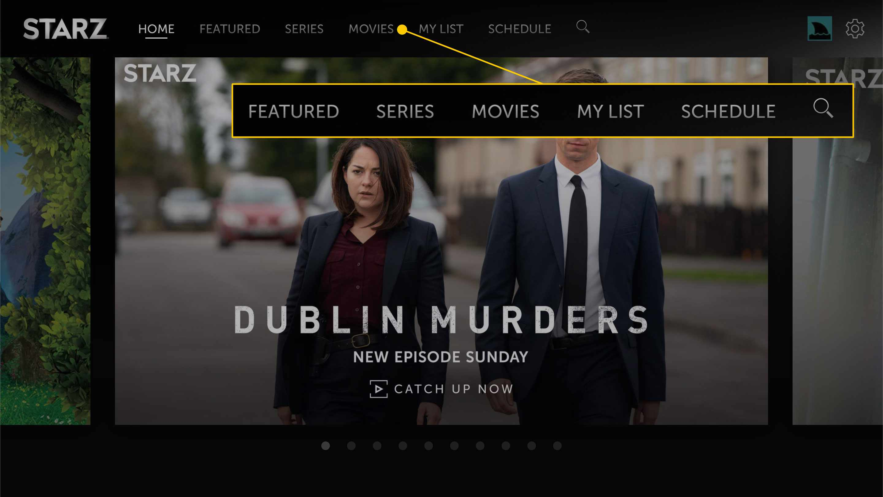 Starz home page with the menu options highlighted