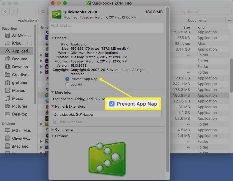 Get Info window showing Prevent App Nap option