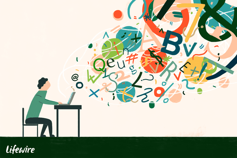 Illustration of a man sitting at a table typing on a laptop with large, colorful letters bursting forth