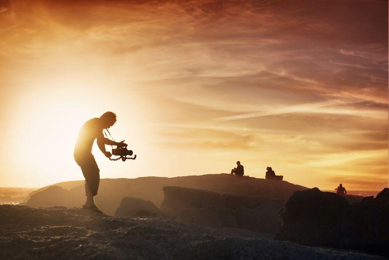 Cameraman at sunset