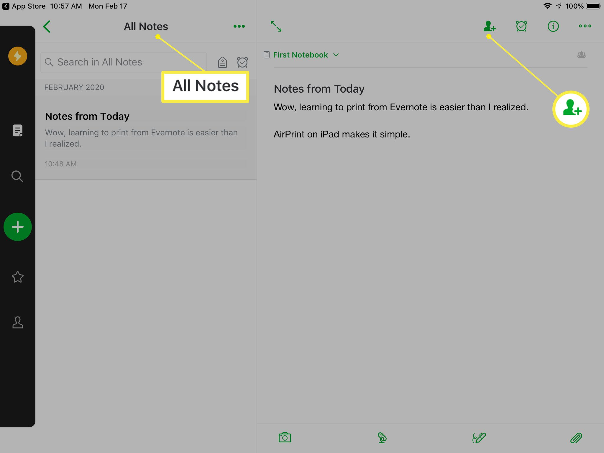 Evernote opening screen