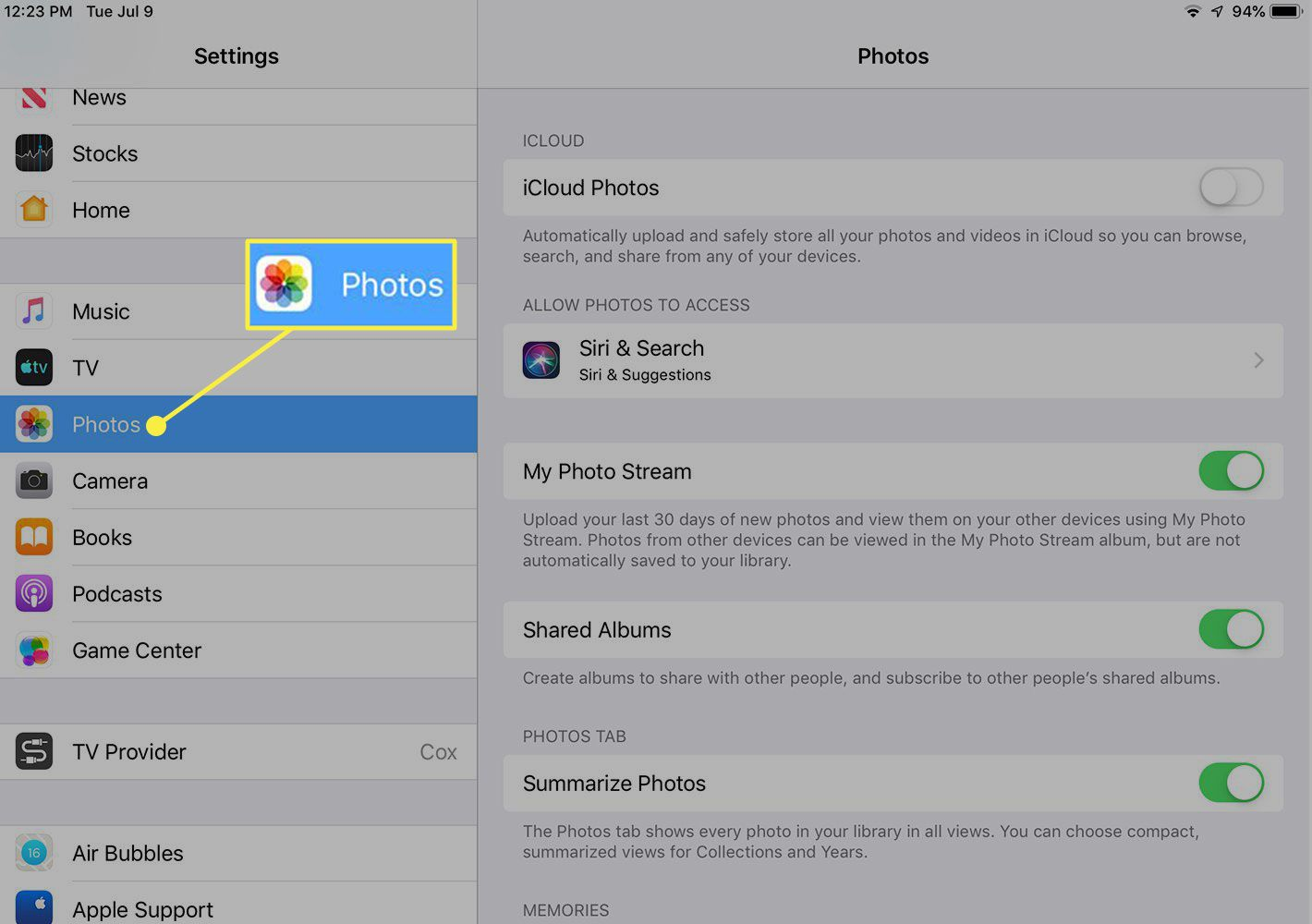 A screenshot of iPad settings with the Photos section highlighted