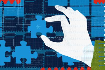Hand holding network puzzle piece - Illustration