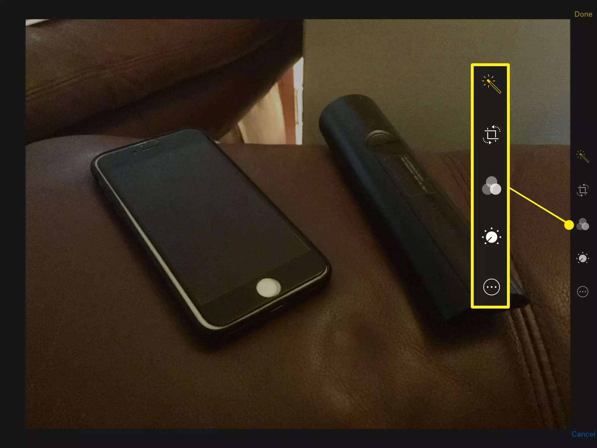 iPad Camera with editing controls highlighted