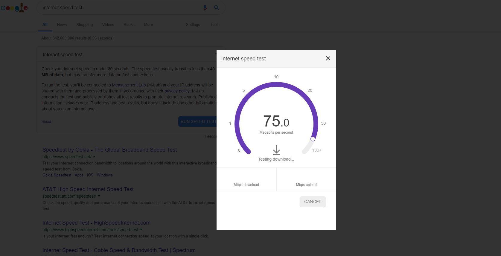 Screenshot of Internet speed test