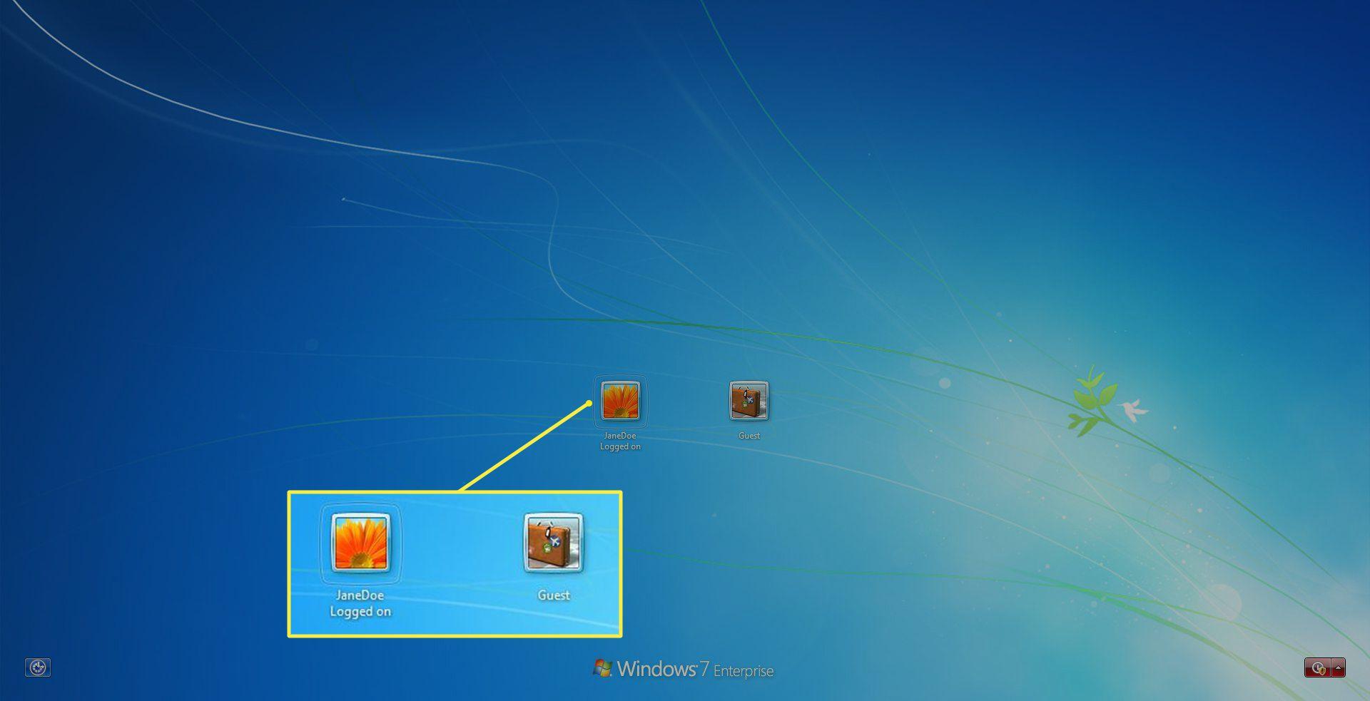 Windows 7 Switch User screen