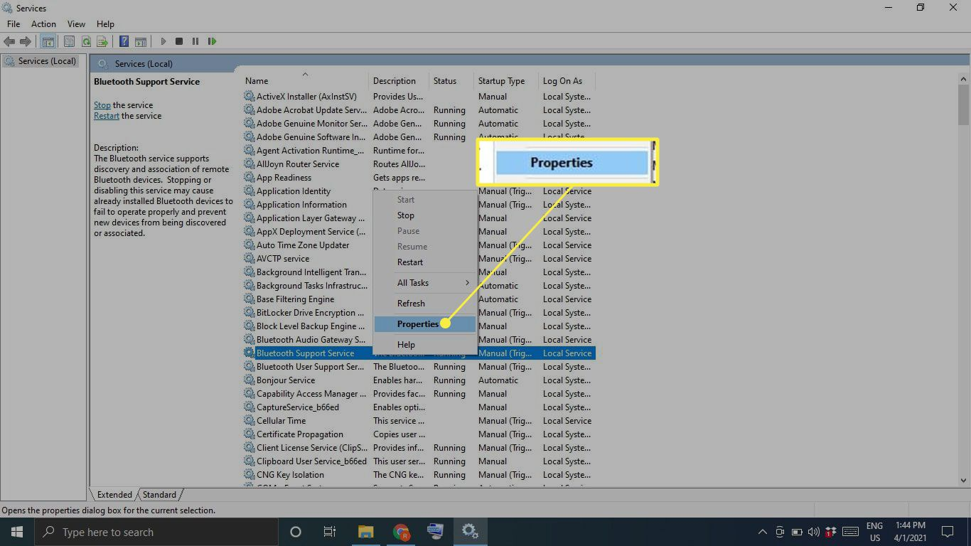 Bluetooth Support Service Properties in Windows Services