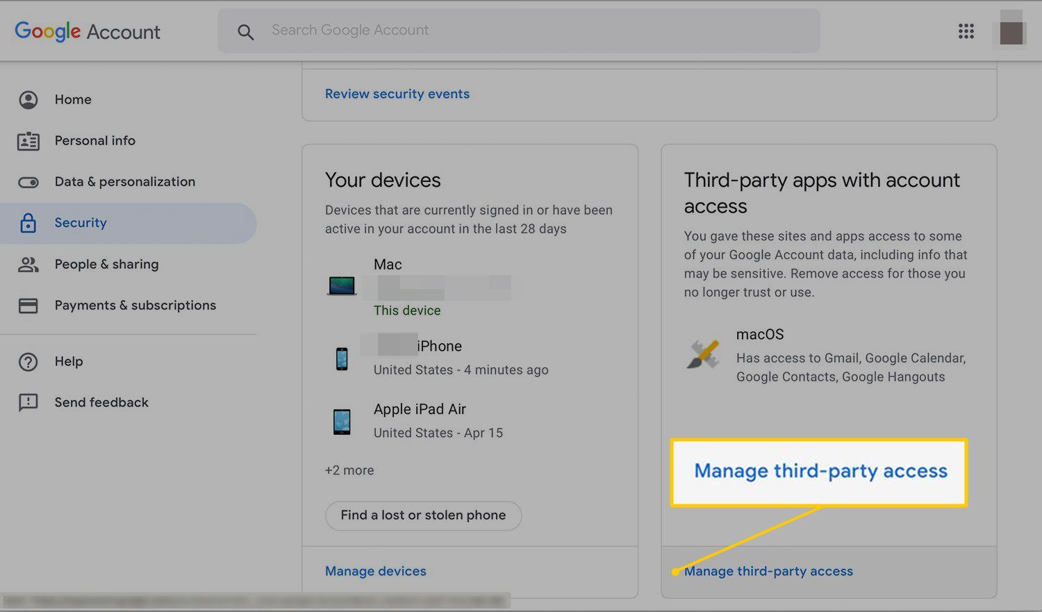 Manage third-party access link in Google Account