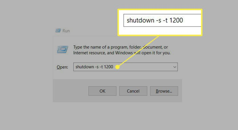 The Run dialog box with the shutdown command for 20 minutes.