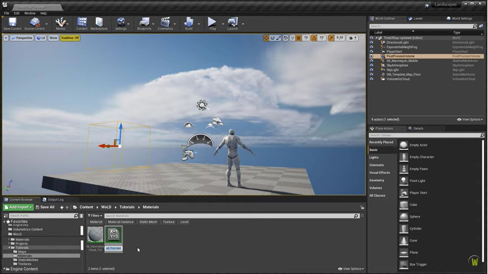 World of Level Design YouTube channel - Volumetric Cloud Material tutorial