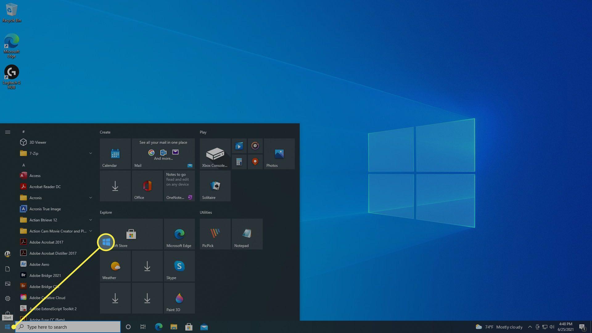 The Windows 10 Start Menu.