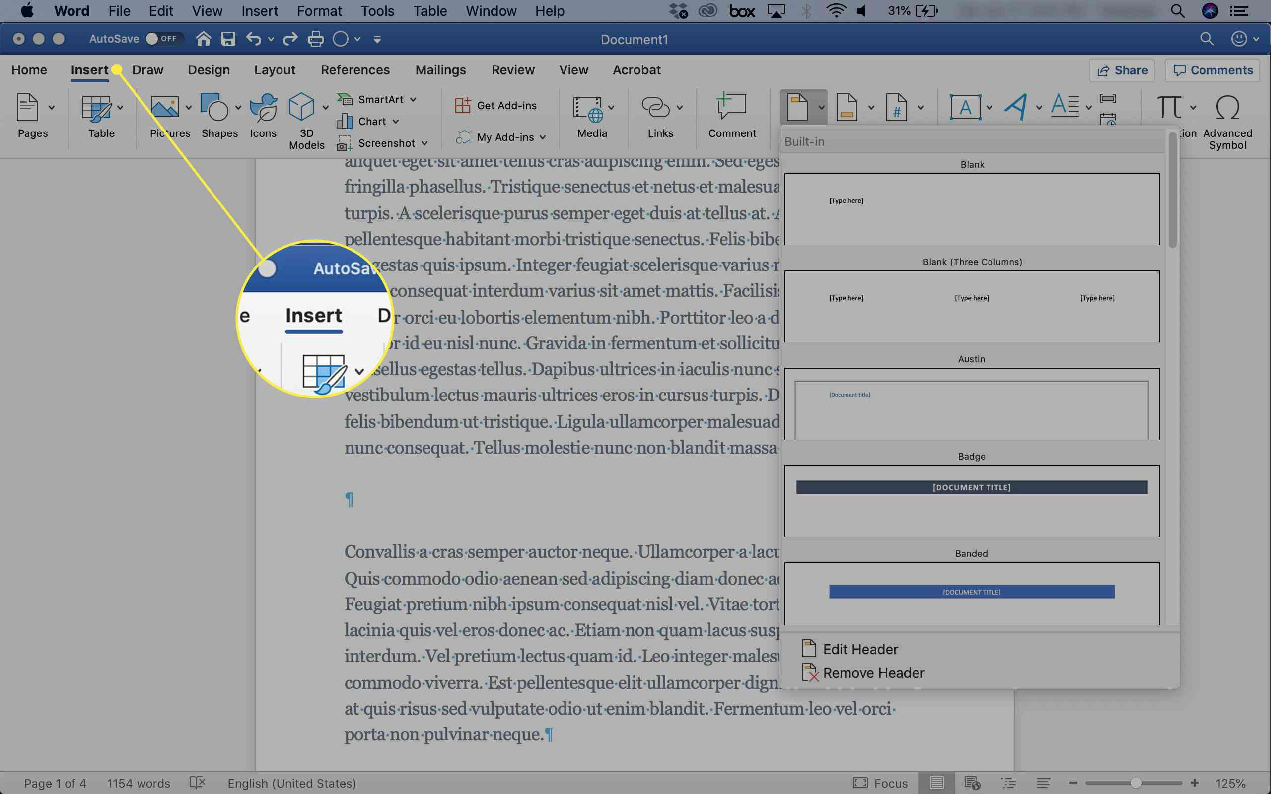 A screenshot of Word with the Insert tab highlighted