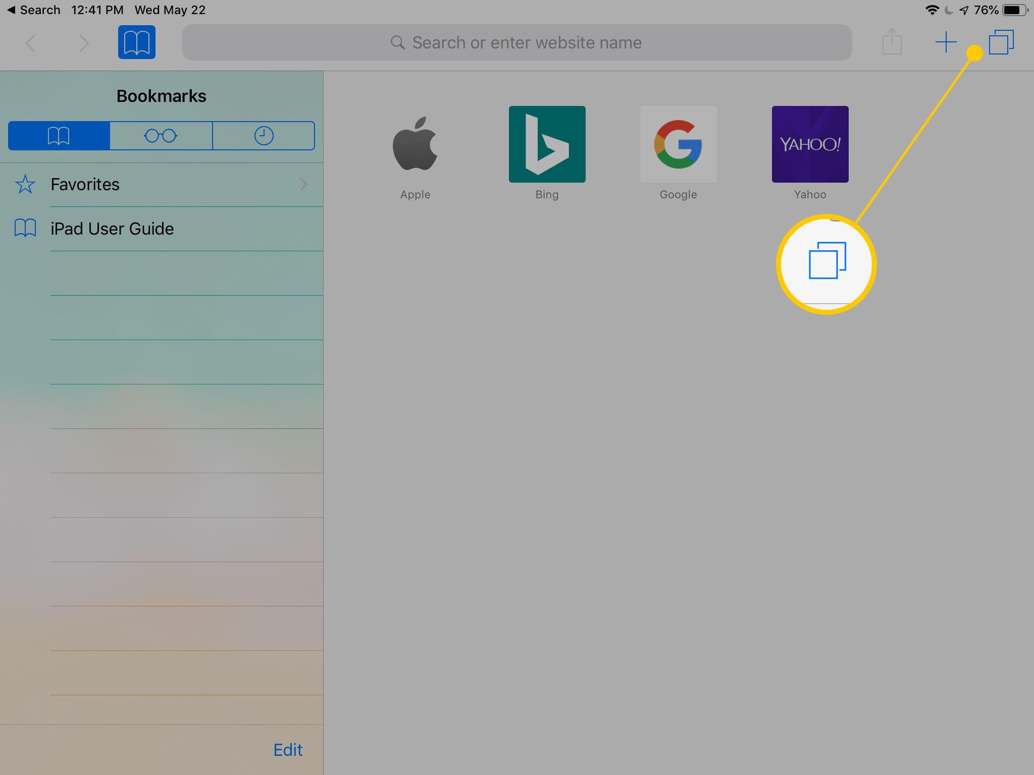 Tabs button on iPad
