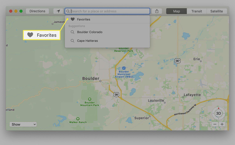 Maps Favorites in drop-down menu