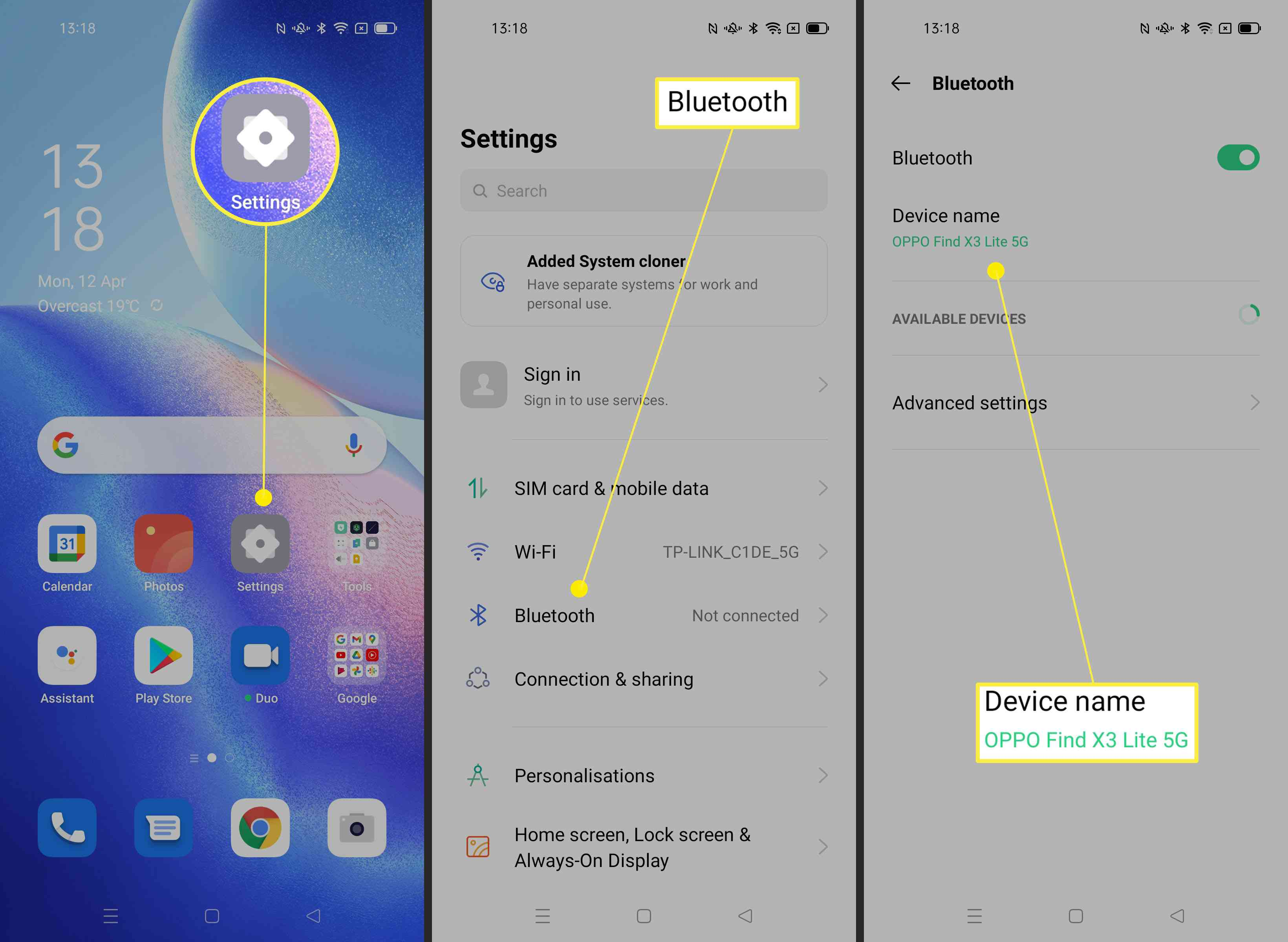 Steps required to change device name on Android phone