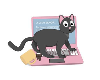 Gray cat and a pink laptop with a screen of death.