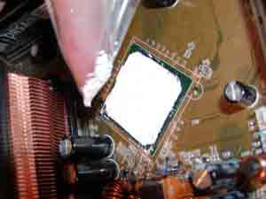 A chipset covered in thermal compound.