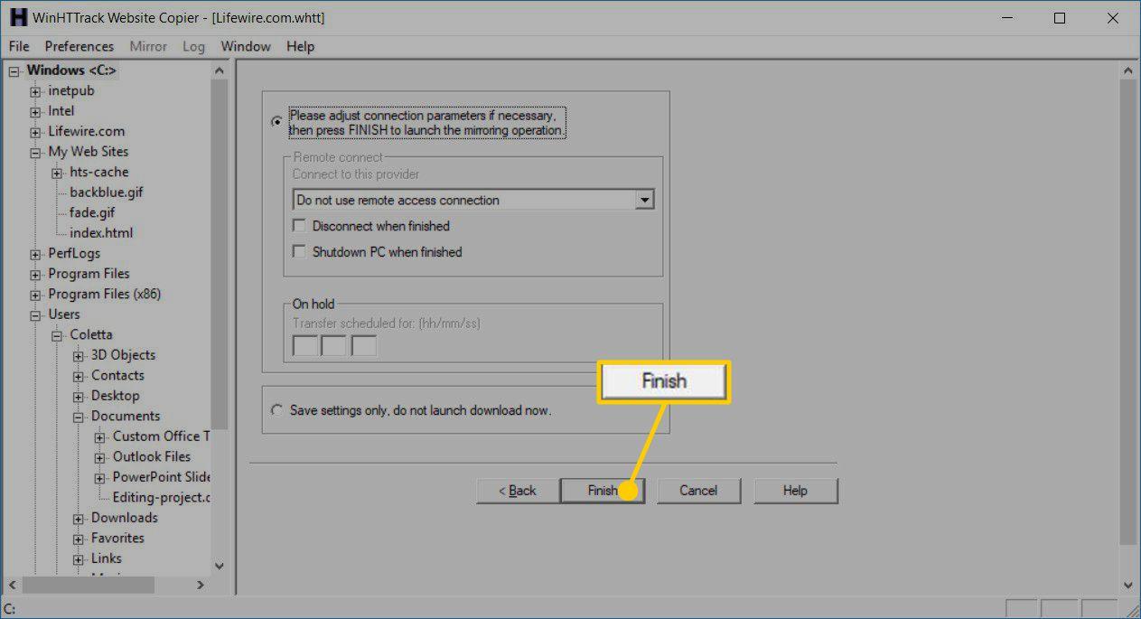 Finish the HTTrack Website Copier download wizard