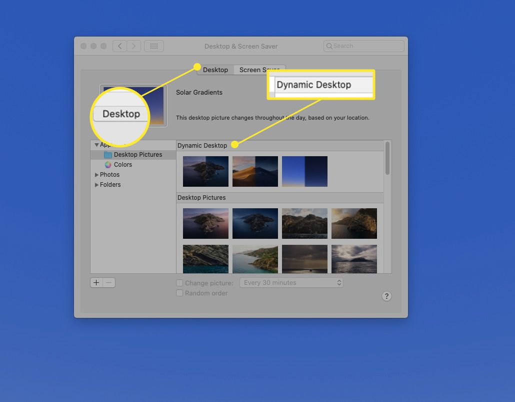 Desktop and Screensaver panel with
