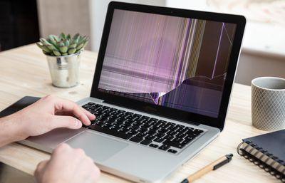 A broken laptop screen.