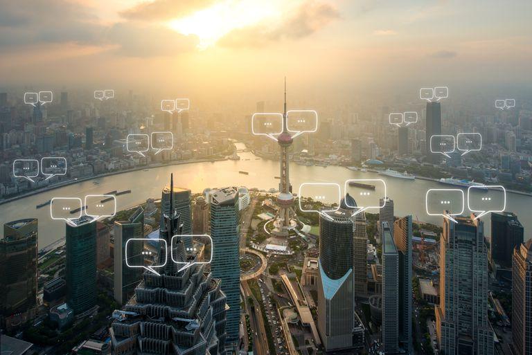 Text bubbles over Shanghai city