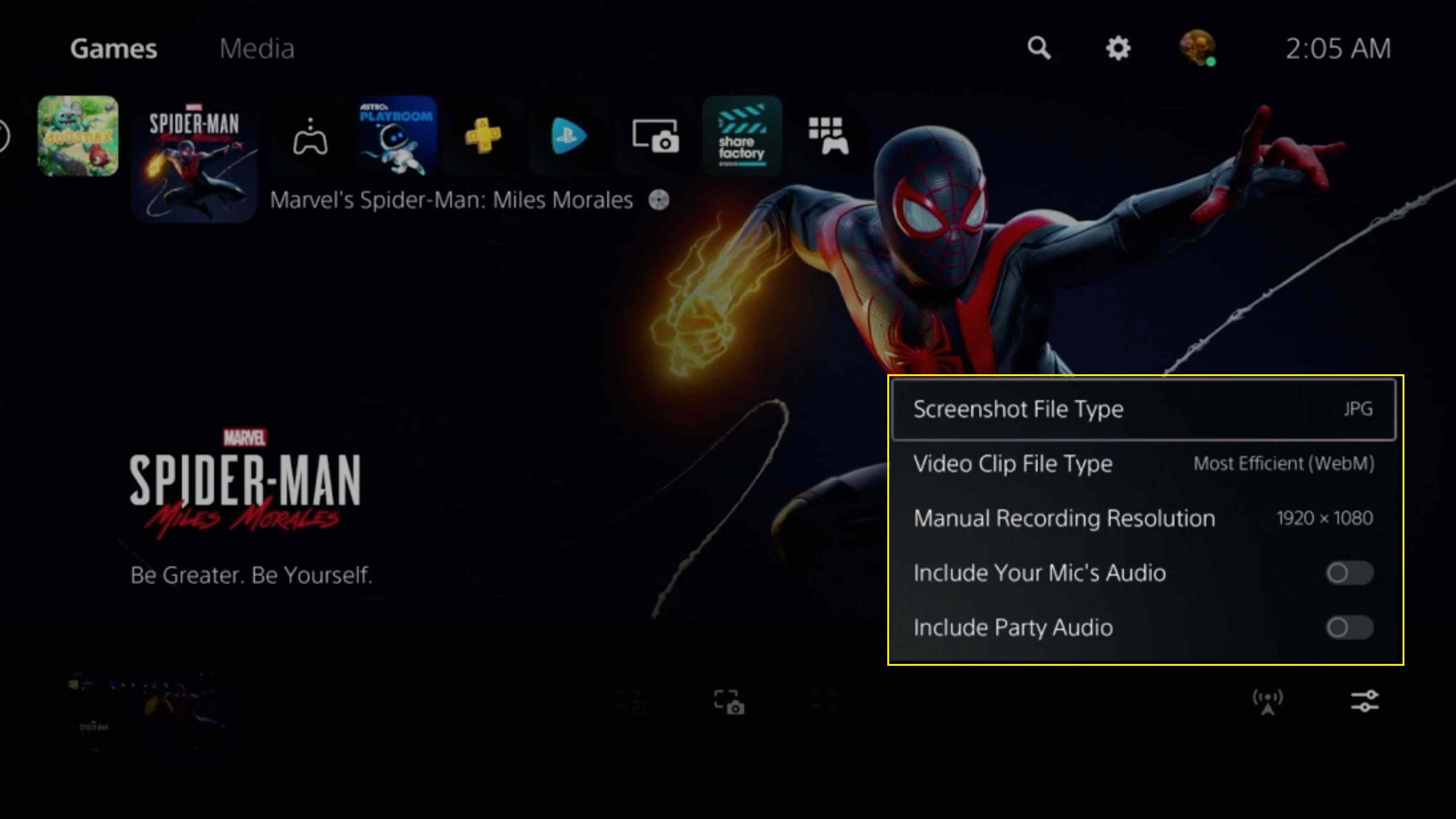 Capture options on a PlayStation 5