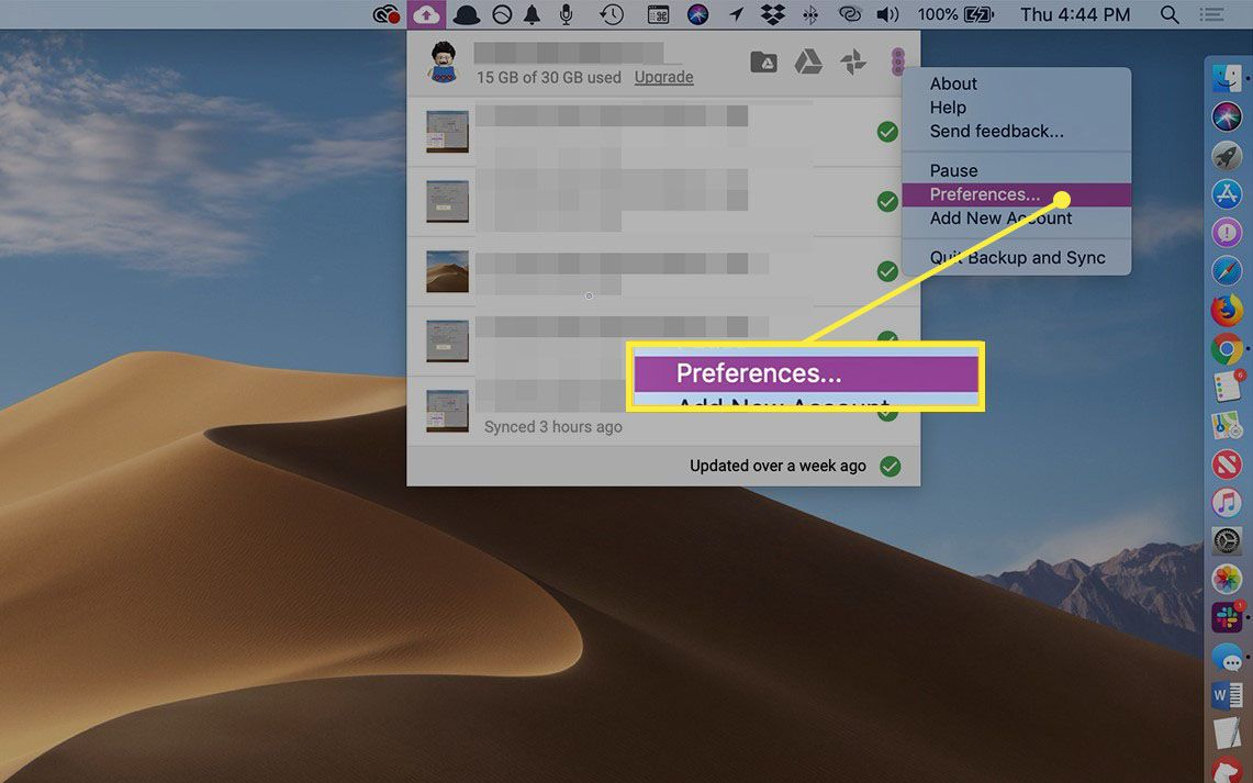 Preferences from Google Backup and Sync menubar item in macOS