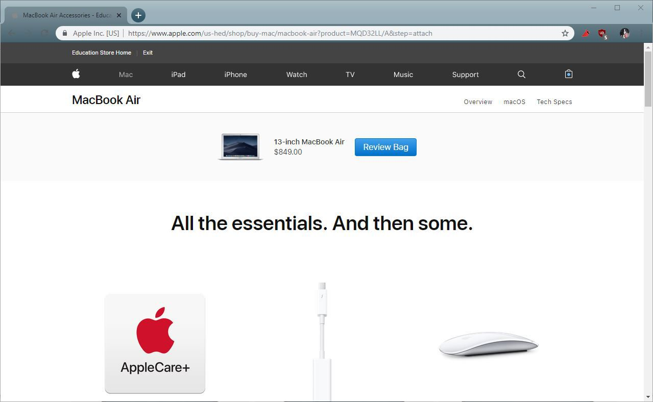 A screenshot of the Apple Education Store.