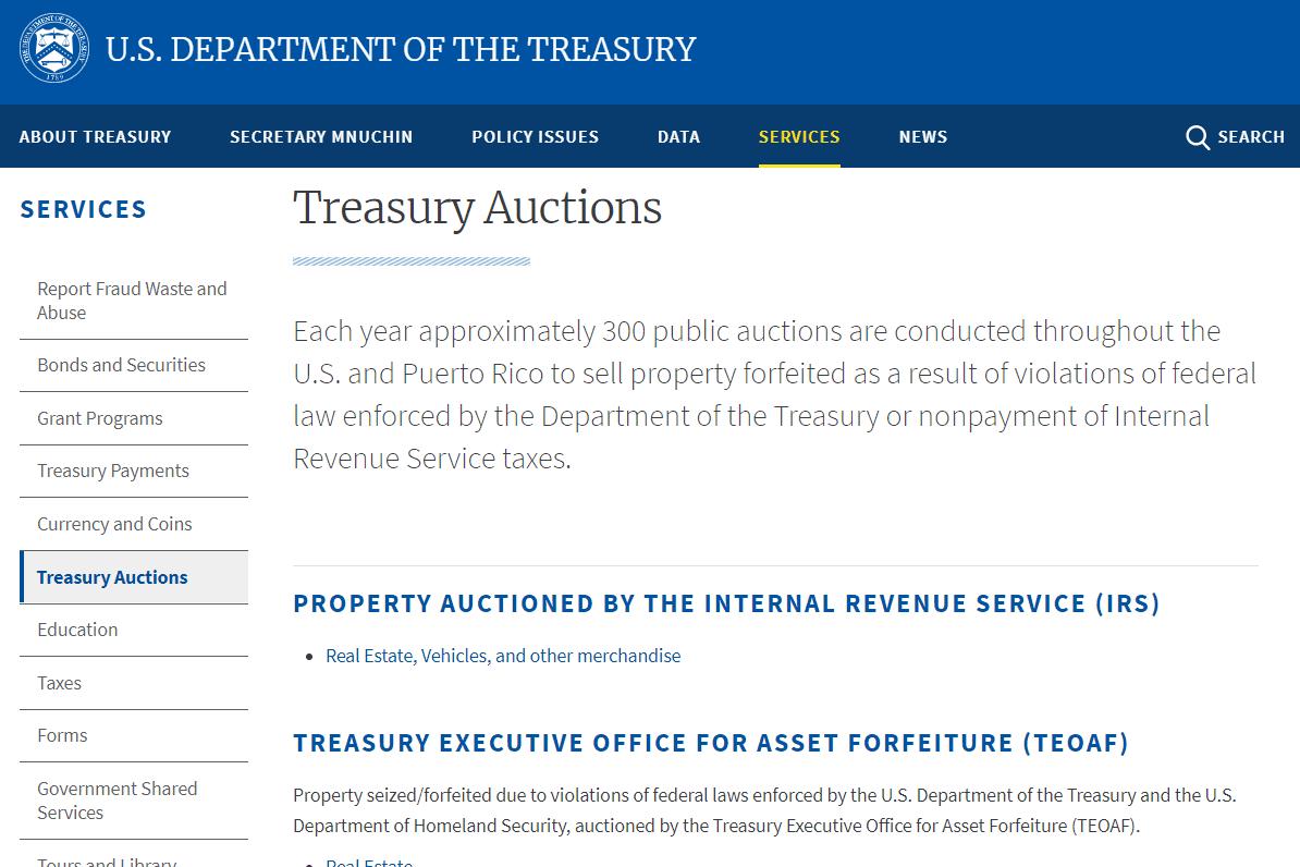 U.S. Department of Treasury auction website
