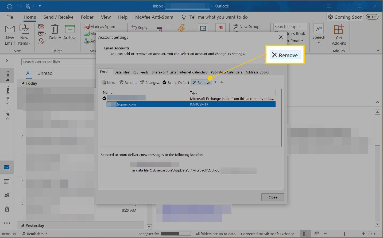 remove account mail app windows 10