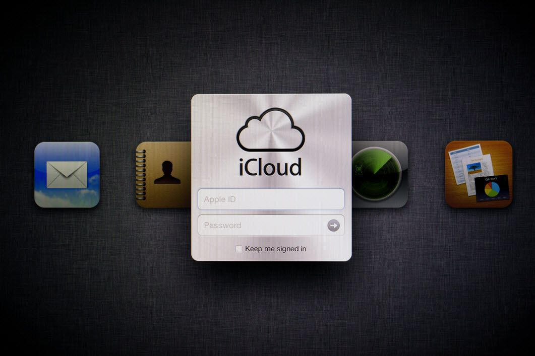 iCloud sign in on a tablet screen